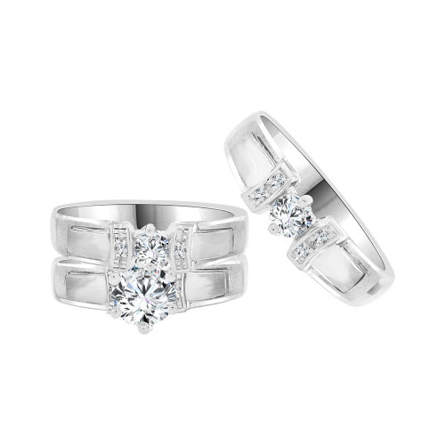 14k White Gold, Trio 3 Piece Wedding Ring Set  Round Cubic Zirconia (R058-051)