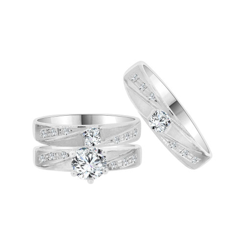 14k White Gold, Trio 3 Piece Wedding Ring Set Round Cubic Zirconia (R058-052)