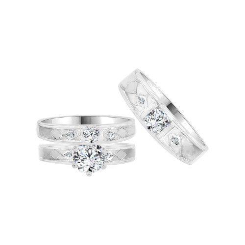14k White Gold, Trio 3 Piece Wedding Ring Set  Round Cubic Zirconia (R058-053)