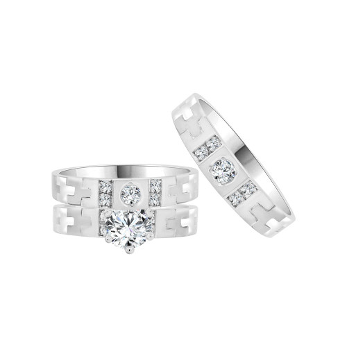 14k White Gold, Trio 3 Piece Wedding Ring Set  Round Cubic Zirconia (R058-054)
