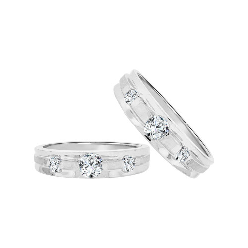 14k White Gold, Duo 2 Piece His & Her Bands Ring Set Cubic Zirconia (R058-055)