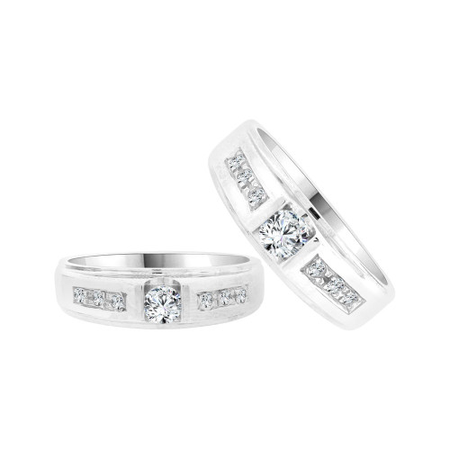 14k White Gold, Duo 2 Piece His & Her Bands Ring Set Cubic Zirconia (R058-057)