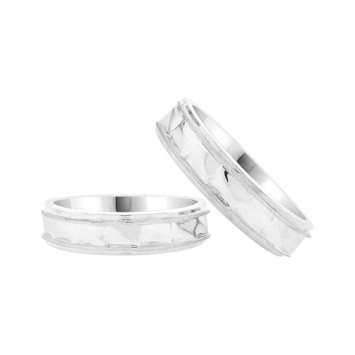 14k White Gold, Facetted Fancy Duo 2 Piece His & Her Bands Ring Set (R058-058)