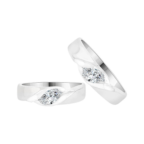 14k White Gold, Duo 2 Piece His & Her Bands Ring Set Cubic Zirconia (R058-059)