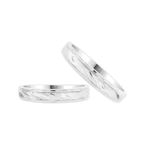 14k White Gold, Facetted Fancy Duo 2 Piece His & Her Bands Ring Set (R058-060)