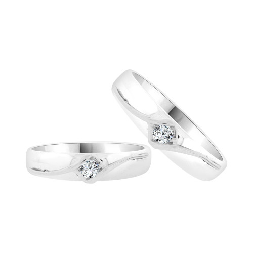14k White & Rose Gold, Duo 2 Piece His & Her Bands Ring Set Cubic Zirconia (R058-061)