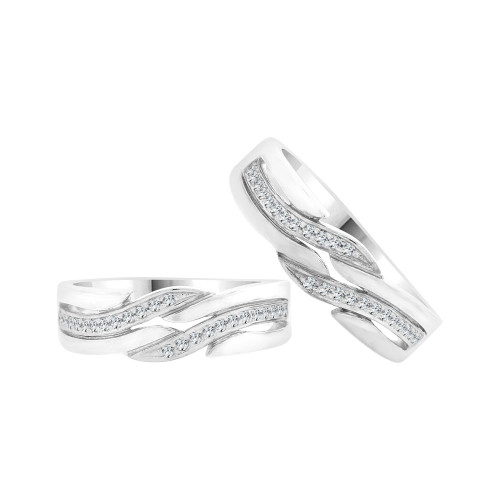 14k White Gold, Fancy Duo 2 Piece His & Her Bands Ring Set Cubic Zirconia (R058-062)