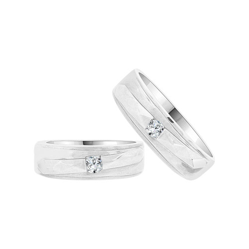 14k White Gold, Fancy Duo 2 Piece His & Her Bands Ring Set Cubic Zirconia (R058-063)