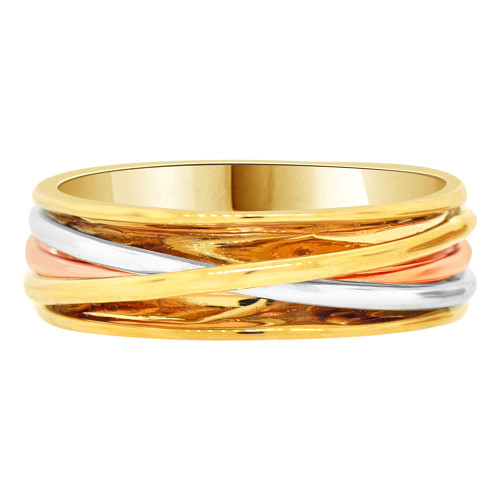 14k Tricolor Gold, Men's Fancy Wire Woven Design Band Ring Size 10 (R058-064)