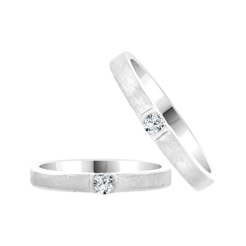 14k White Gold, Fancy Duo 2 Piece His & Her Bands Ring Set Cubic Zirconia (R058-065)
