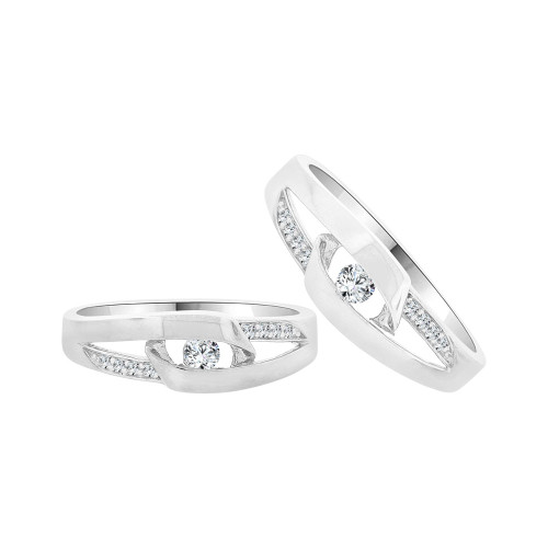 14k White Gold, Fancy Duo 2 Piece His & Her Bands Ring Set Cubic Zirconia (R058-066)
