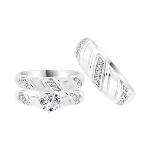 14k White Gold, Trio 3 Piece Set Engagement Wedding Rings Round Cubic Zirconia (R058-070)