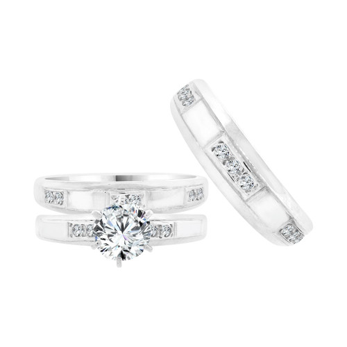 14k White Gold, Trio 3 Piece Set Engagement Wedding Rings Round Cubic Zirconia (R058-071)