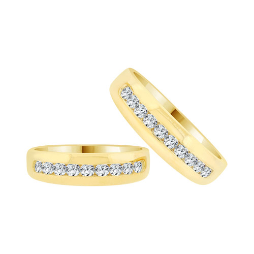 14k Yellow Gold, Matching His & Her Elegant Polished Band Rings Cubic Zirconia (R058-017-018)