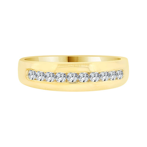 14k Yellow Gold, Elegant Polished Men's Band Ring Cubic Zirconia (R058-018)