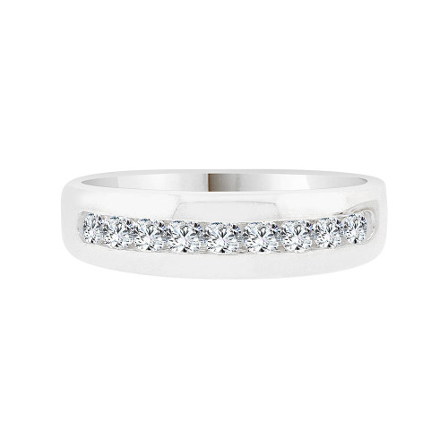 14k White Gold, Elegant Polished Lady's Band Ring Cubic Zirconia (R058-067)
