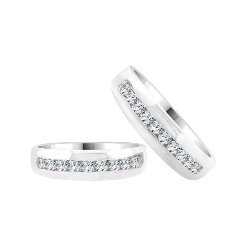14k White Gold, Matching His & Her Elegant Polished Band Rings Cubic Zirconia (R058-067-068)