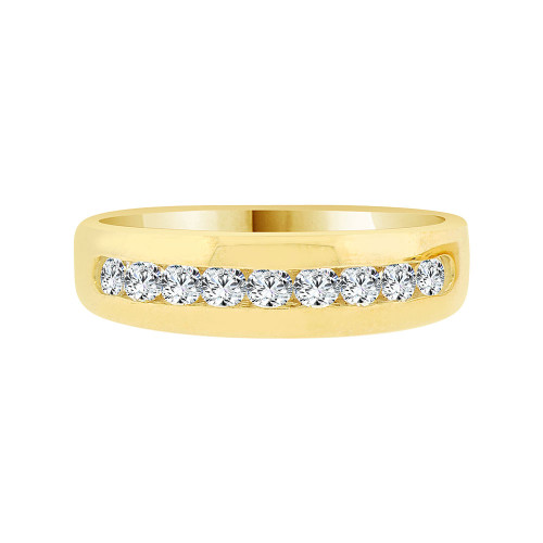 14k Yellow Gold, Elegant Polished Lady's Band Ring Cubic Zirconia (R058-017)