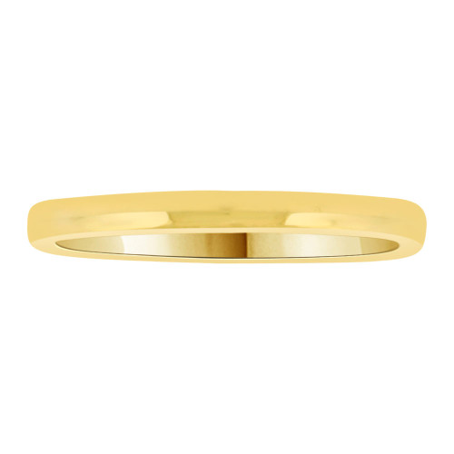 14k Yellow Gold, Classic Plain Polished Band Ring 2mm Width (R009-000)