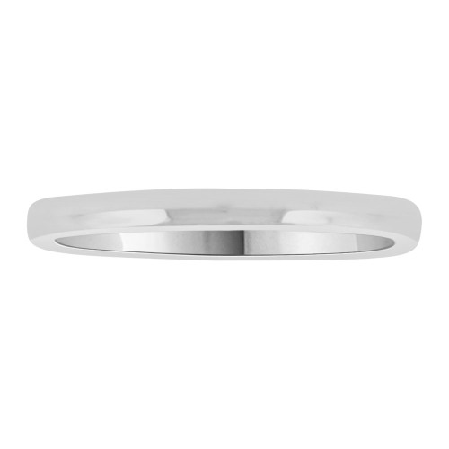 14k White Gold, Classic Plain Polished Band Ring 2mm Width (R010-000)