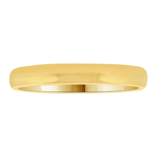 14k Yellow Gold, Classic Plain Polished Band Ring 3mm Width (R011-000)