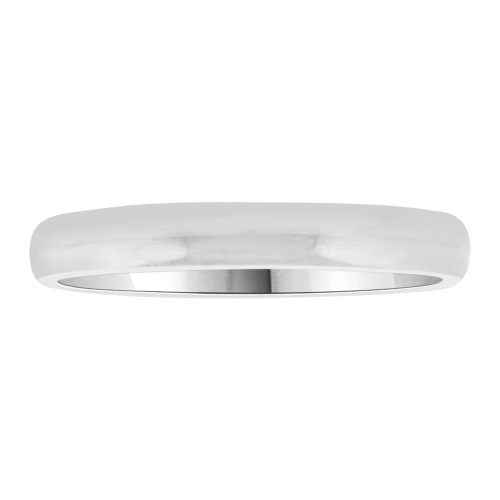 14k White Gold, Classic Plain Polished Band Ring 3mm Width (R012-000)