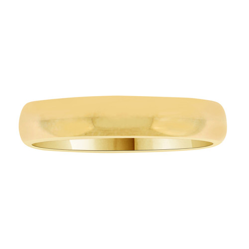 14k Yellow Gold, Classic Plain Polished Band Ring 4mm Width (R013-000)