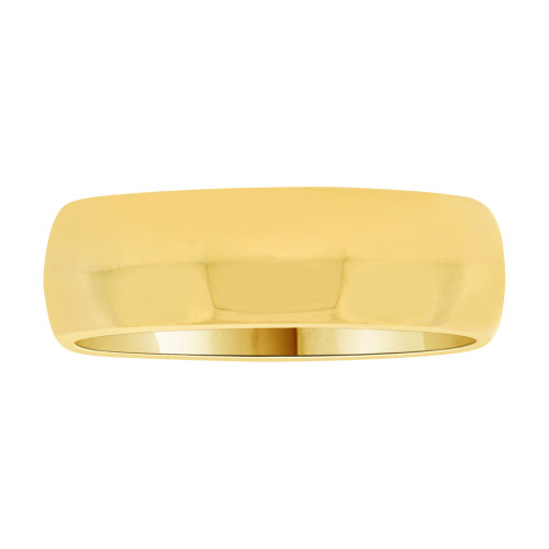 14k Yellow Gold, Classic Plain Polished Band Ring 6mm Width (R017-000)