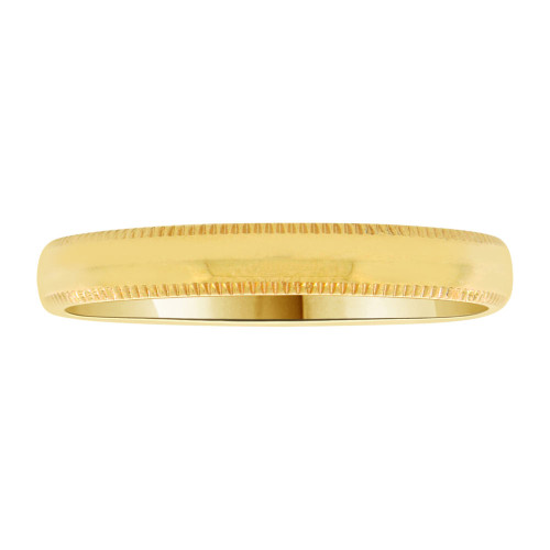 14k Yellow Gold, Classic Milgrain Plain Polished Band Ring 3mm Width (R019-000)