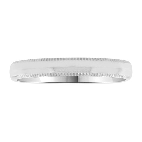 14k White Gold, Classic Milgrain Plain Polished Band Ring 3mm Width (R020-000)