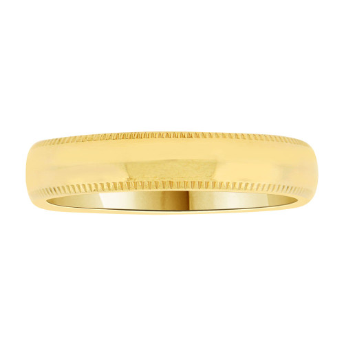 14k Yellow Gold, Classic Milgrain Plain Polished Band Ring 4mm Width (R021-000)