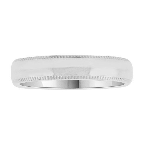 14k White Gold, Classic Milgrain Plain Polished Band Ring 4mm Width (R022-000)