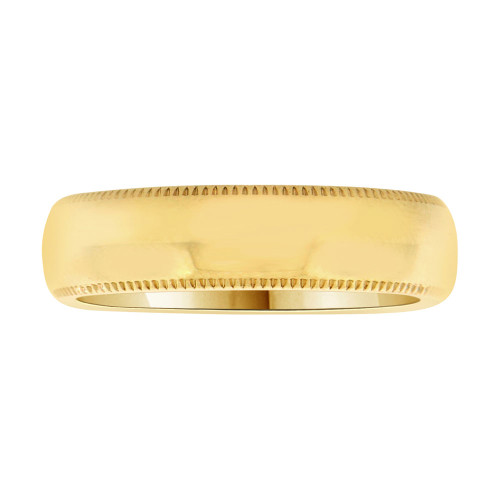 14k Yellow Gold, Classic Milgrain Plain Polished Band Ring 5mm Width (R023-000)