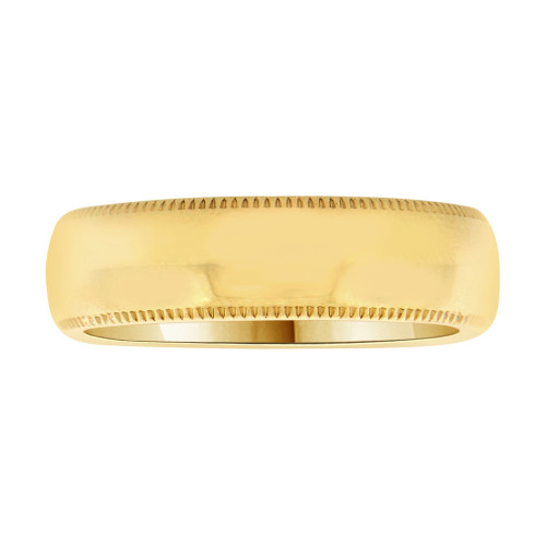 14k Yellow Gold, Classic Milgrain Plain Polished Band Ring 6mm Width (R025-000)
