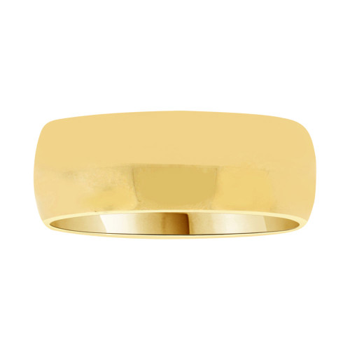 14k Yellow Gold, Classic Plain Polished Band Ring 7mm Width (R027-000)