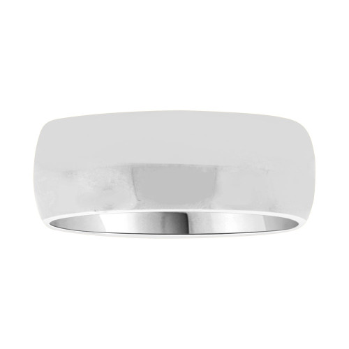 14k White Gold, Classic Plain Polished Band Ring 7mm Width (R028-000)