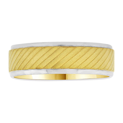 14k Yellow and White Gold, Fancy Wedding Band Satin Polish Ring 6mm Width (R033-000)