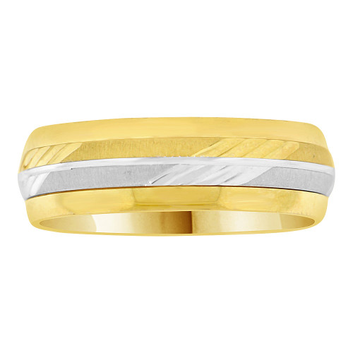 14k Yellow and White Gold, Fancy Spin Band Ring Diacut 6mm (R035-000)