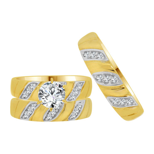 14k Yellow Gold White Rhodium, Trio 3 Piece Engagement Cubic Zirconia 1.0ct (R038-004)