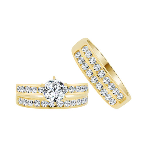 14k Yellow Gold White Rhodium, Trio 3 Piece Engagement Cubic Zirconia 1.0ct (R038-007)