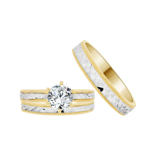 14k Yellow Gold White Rhodium, Trio 3 Piece Engagement Lab Created Gem 1.0ct (R038-008)