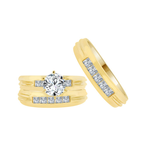 14k Yellow Gold, His & Her Trio 3 Piece Wedding Ring Cubic Zirconia 1.0ct (R038-009)