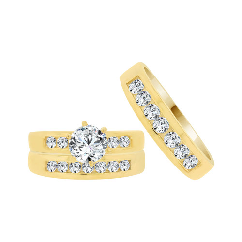 14k Yellow Gold, His & Her Trio 3 Piece Wedding Ring Cubic Zirconia 1.0ct (R038-010)
