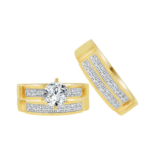 14k Yellow Gold White Rhodium, Trio 3 Piece Engagement Cubic Zirconia 1.0ct (R038-011)