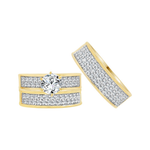 14k Yellow Gold White Rhodium, Trio 3 Piece Engagement Cubic Zirconia 1.0ct (R038-012)