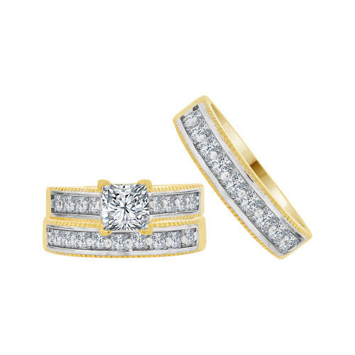 14k Yellow Gold White Rhodium, Trio 3 Piece Engagement Cubic Zirconia 1.0ct (R038-013)