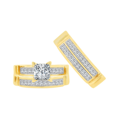 14k Yellow Gold White Rhodium, Trio 3 Piece Engagement Cubic Zirconia 1.0ct (R038-014)