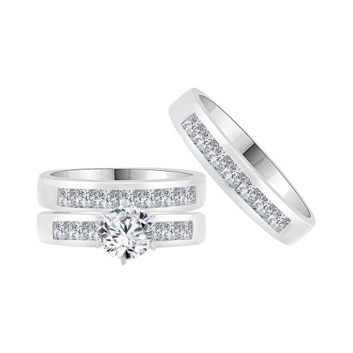 14k White Gold, Trio 3 Piece Set Engagement Wedding Rings Round Cubic Zirconia (R058-069)