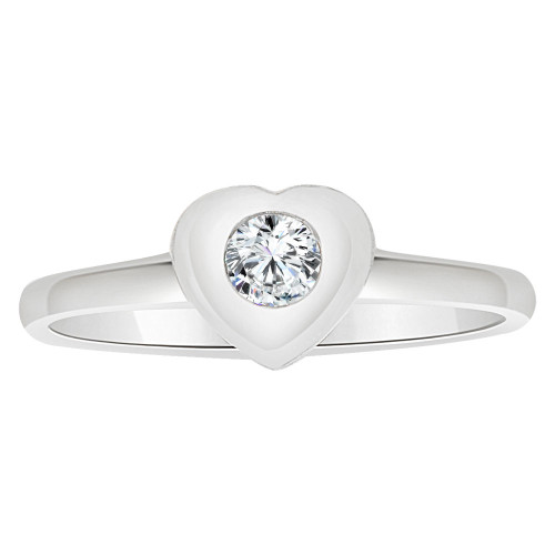 14k White Gold, Simple Small Heart Ring Round Brilliant Cubic Zirconia (R205-154)