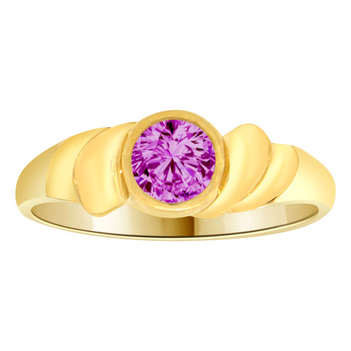 14k Yellow Gold, Abstract Design Ring Round Feb Birth Color Cubic Zirconia (R205-302)